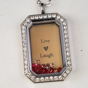 Origami Owl Silver Heritage locket-Live Love Laugh
